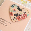 Mother's Day Card, Personalised, Peach Floral Heart, Mum, Oma, Nanna, Nanny