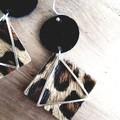 """Geo"" Genuine Leather Earrings, Leopard/Black, Hypoallergenic Stainless Steel"