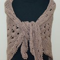 Magical Taupe Virus meets V-stitch Shawl- FREE Shipping
