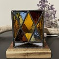 Argyle Cube Stained Glass Lamp