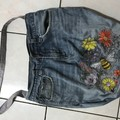 Queen Bee one of a kind denim tote bag, gift bag .A fully upcycled item Handmade