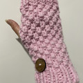 Handmade pink Handwarmers, Fingerless pink wristwarmers, chunky pink  gloves, p