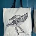 Whale Migration - Canvas Tote Bag (40x37cm)