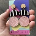 Black/white/peachy pink triple layer earrings