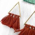 Brass and tassel earrings - rust colour
