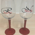 Personalised Wine Glasses Glitter Stem x 2 Set For Couples Ideal Wedding Gift