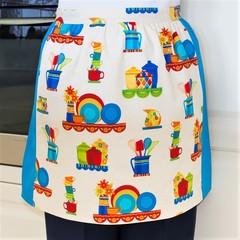 Half Apron - retro kitchen apron - women's lined cotton apron