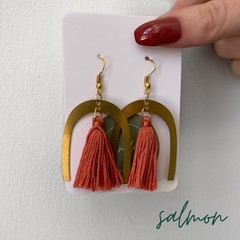 Brass and tassel dangles - salmon colour