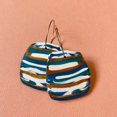 Green, Gold and White Stripe HOOP Earrings - Polymer Clay Earrings