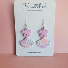 Light pink/lilac/white/grey large dangles