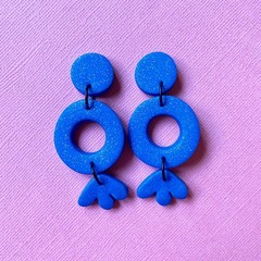 Three Tier Dangle Drops Blue Sparkle - Polymer Clay Earrings