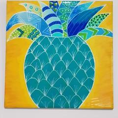 Hand Painted Pineapple on Ceramic Tile