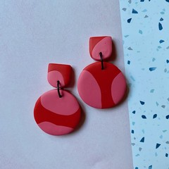 Red and Pink Contrast Earrings - Polymer Clay Earrings