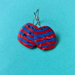 Red and Blue Stripe HOOP Earrings - Polymer Clay Earrings SMALL