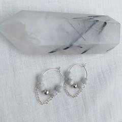 Howlite mini hoop earrings- Sterling silver