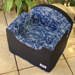 Tail Rider Dog Booster Seat - Small 'Navy South Seas'
