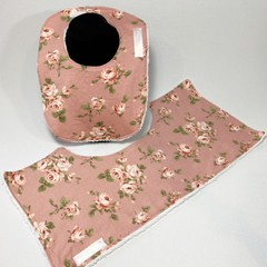 Baby Bib & Burp Cloth Gift Set | Pink roses
