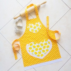 Kids/Toddlers Apron Yellow - girls lined kitchen apron with pocket