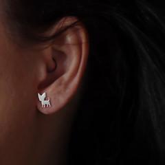 Chihuahua Stud Earrings in Sterling Silver,