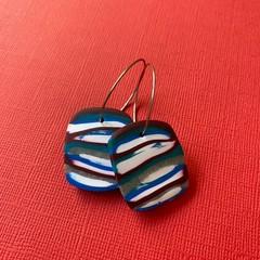 Mixed Stripe HOOP Earrings - Polymer Clay Earrings SMALL