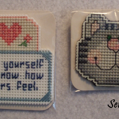 Cross Stitch Fridge Magnets (Sets of 2)