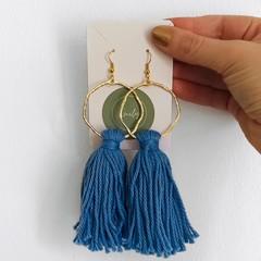 Long tassel dangles - forget-me-knot colour