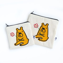 Screen Printed Bear & Hand Embroidered Flower Zipper Pouch