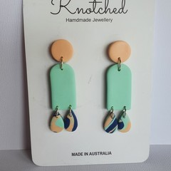 Light blue/mint green/peachy orange/navy large dangles