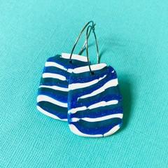 Green, Blue, Teal Sparkle Stripe HOOP Earrings - Polymer Clay Earrings