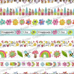 Digital Instant Download Washi Tape Fairy Fun Elements Printable Clipart for Art