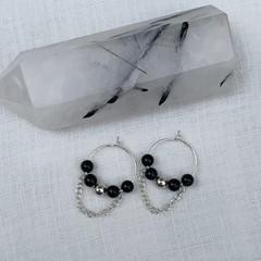 Black obsidian- mini hoops sterling silver