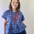Batik cotton top in blue with purple dots