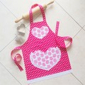 Kids/Toddlers Apron Pink - girls lined apron - age 2-6 years