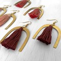 Brass and tassel dangles - red wine colour