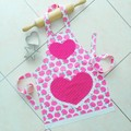 Kids Apron Pink Apples - girls lined apron - age 6-11 years