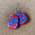 Red and Blue Stripe HOOP Earrings - Polymer Clay Earrings