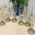 Personalised Champagne Flutes Set of 6 Wedding Party Gold Glitter