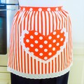 SALE - Half Apron white & orange lined apron - heart pocket