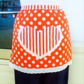 SALE - Half Apron orange & white lined apron - heart pocket