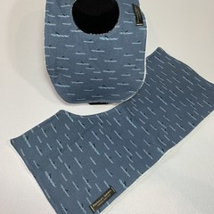 Baby Bib & Burp Cloth Gift Set | Blue Shark Fins