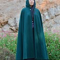 Medium Length Forest Green Wool Blend Cloak