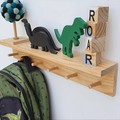 Floating wooden shelf with peg rail - entryway storage - nursery shelves - coat