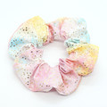 Earring and scrunchie set - pastel rainbow & gold