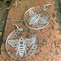 Bee Acrylic Earrings - Engraved Clear Acrylic