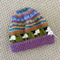 Purple  Sheep  Beanie - to fit approx size 1-3 years -hand knitted
