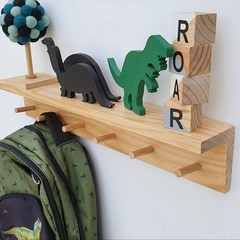 Floating wooden shelf with peg rail - entryway storage - nursery shelves - coat