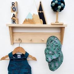 Shelf with pegrail - Kids wood shelf, nursery wall peg shelf, display shelf, nur