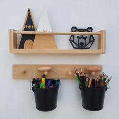 Kids bookshelf + peg rail, Wood nursery shelf, Floating bookshelves, children's