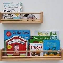 Wide/Deep wooden floating bookshelves, wall book shelf, wood nursery bookshelf,