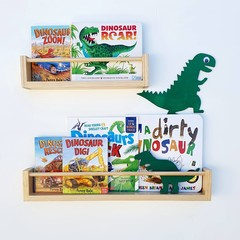 Wooden Floating bookshelf, Wall mount, Timber book shelf  Nursery bookshelf, Chi